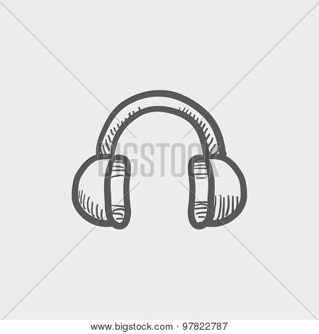 Headphone sketch icon for web and mobile. Hand drawn vector dark grey icon on light grey background.