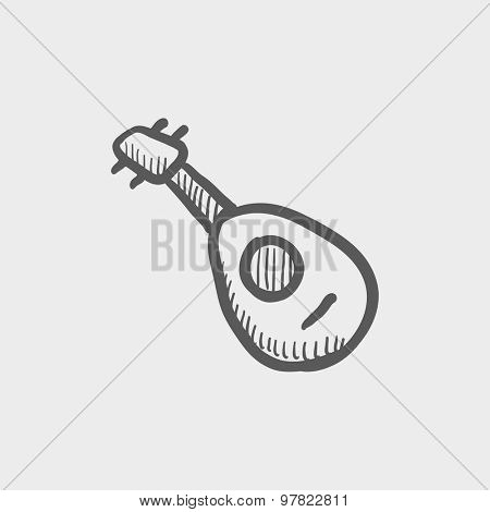 Mandolin guitar sketch icon for web and mobile. Hand drawn vector dark grey icon on light grey background.