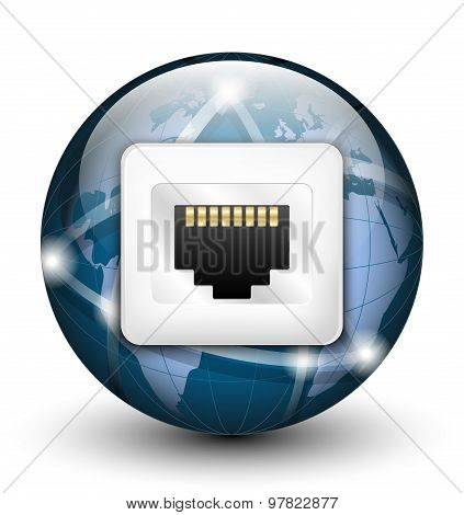 Global Connection Icon. Vector Illustration