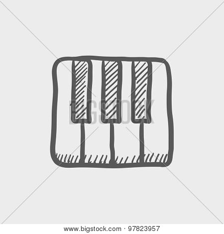 Piano keys sketch icon for web and mobile. Hand drawn vector dark grey icon on light grey background.