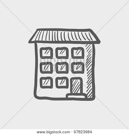 Condominium building sketch icon for web and mobile. Hand drawn vector dark grey icon on light grey background.