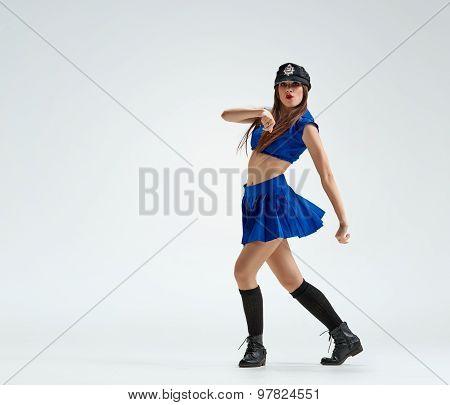 dance in police uniform
