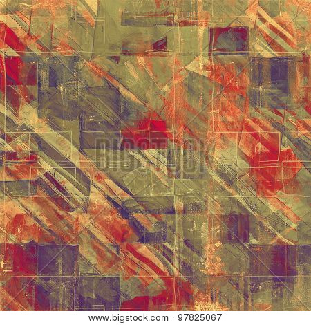 Grunge aging texture, art background. With different color patterns: brown; red (orange); purple (violet); green