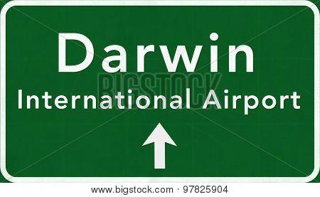 Darwin Australia International Airport Highway Sign