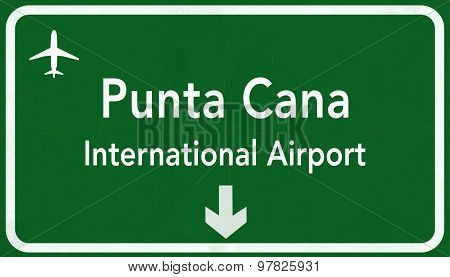 Dominican Republic Punta Cana International Airport Highway Sign