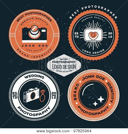 PPhotography badges and labels. Vector hipster collection of photography logo templates.