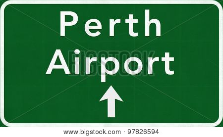Perth Australia International Airport Highway Sign