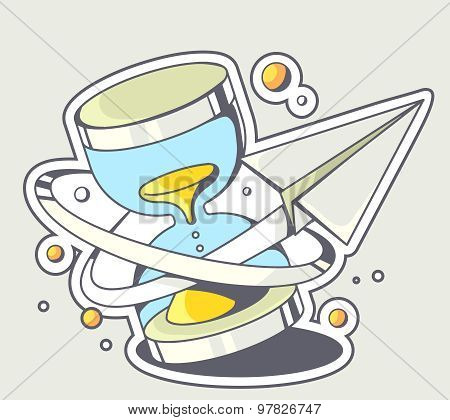 Vector Illustration Of Paper Plane Flying Around A Blue Sandglass On Gray Background.