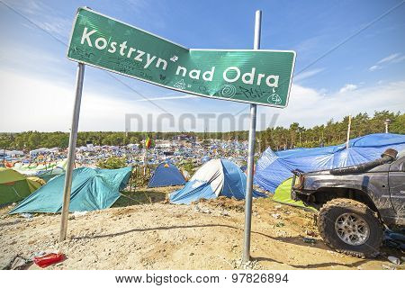 City Name Board On The 21Th Woodstock Festival Poland.