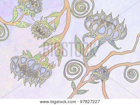 Colorful Watercolor Painting of a Floral Pattern