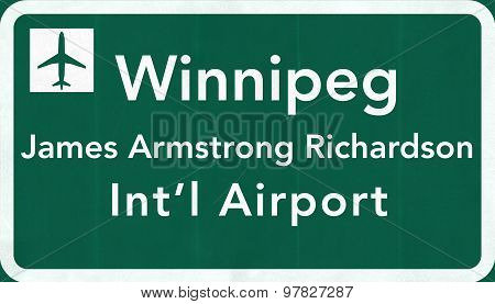 Winnipeg Canada International Airport Highway Sign