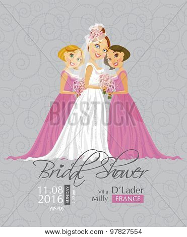 Vector illustration of cute elegant bride with Bridesmaid holding flowers.
