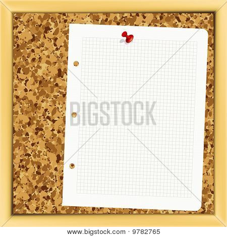 Closeup of note paper on cork board - Illustration for your design