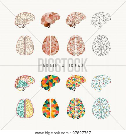 Brain And Ideas Icon Set Illustration