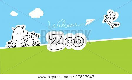 Zoo vector animals illustration for kids, hand drawn doodle style