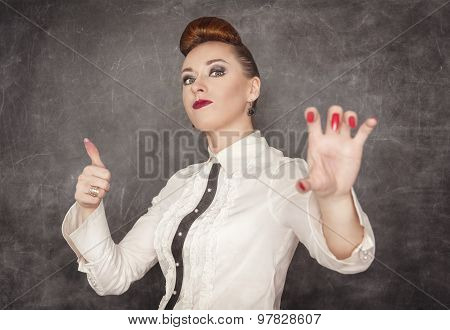 Woman Holding Something In Her Hand