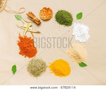 Spices For Health On Background.