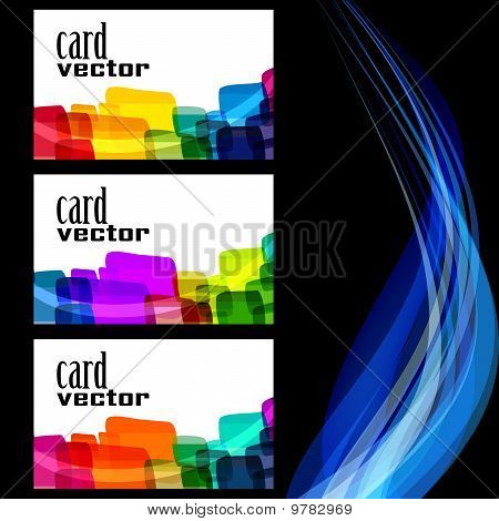A set of three cards on a black background decorated with blue stripes.