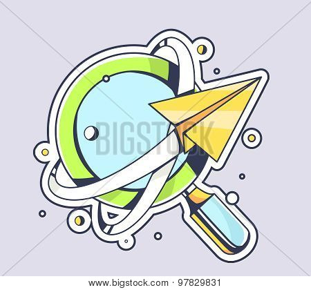 Vector Illustration Of Yellow Paper Plane Flying Around Blue Magnifying Glass On Color Background.