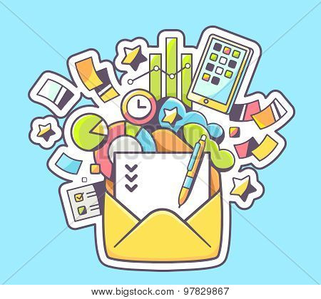 Vector Illustration Of Opened Yellow Envelope And Color Financial Icons On Blue Background.