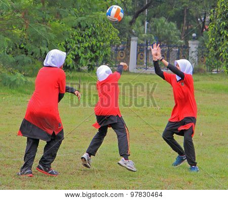 girls are playing volleyball in Shah Alam, Malaysia