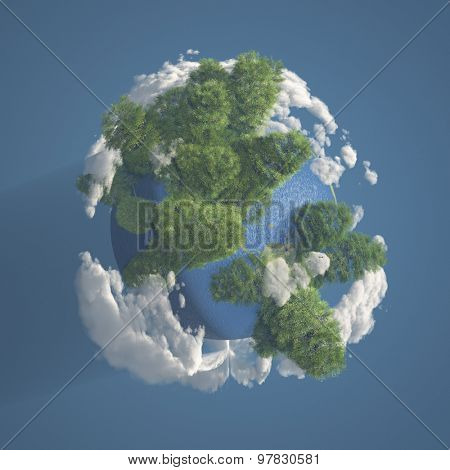 Tiny Planet Earth with Trees and Clouds 3D Render