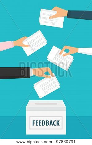 Group Feedback Illustration. People holding feedback papers and putting them into ballot box