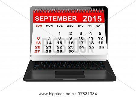 September 2015 Calendar Over Laptop Screen