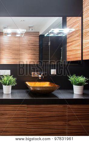 Modern Bathroom With Decorative Worktop