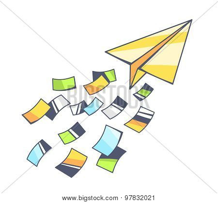 Vector Illustration Of Yellow Paper Plane And Flying Color Papers On Gray Background.