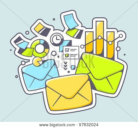 Vector Illustration Of Envelopes And Financial Documents On Color Background.