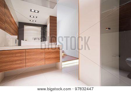 Bathroom With Decorative Wood Imitation