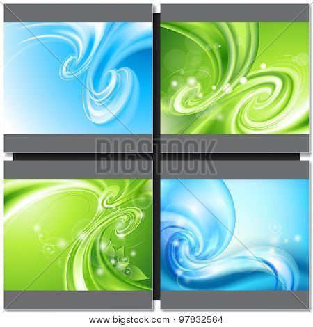 Abstract blue and green background with swirl