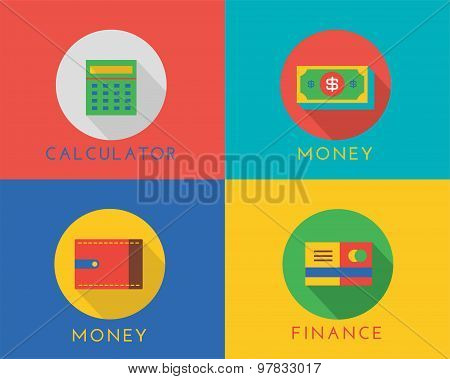 E-commerce money vector logo icons set. Shop, money or commerce and mobile payment, finance, calcula