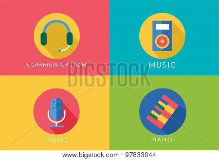 Music vector logo icons set. Player, piano, sound, microphone and headphone, radio. Keys or buttons,
