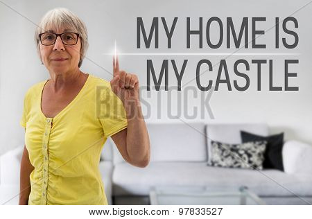 My Home Is My Castle Touchscreen Is Shown By Senior