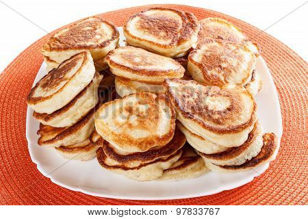 Domestic, lush Pancakes on a plate, isolated white