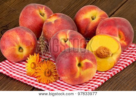 peaches rustic still life