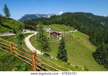 Rural scene in mountains near Brentenjochalm. Alps Austria Tirol