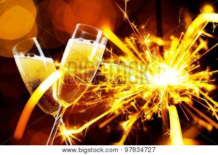 Glasses of champagne, on bright background