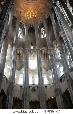 BARCELONA, SPAIN - MAY 02: Ceiling of the Sagrada Familia, Barcelona, Spain with columns designed by Antoni Gaudi as branching trees. May 02, 2015 in Barcelona Spain