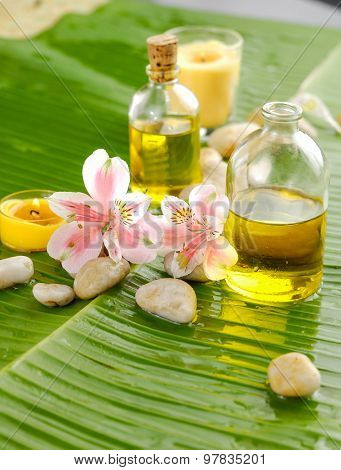 Spa set on banana leaf , orchid