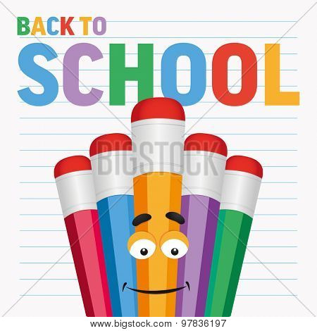 Back to school with cartoon colored pencils . Vector illustration.