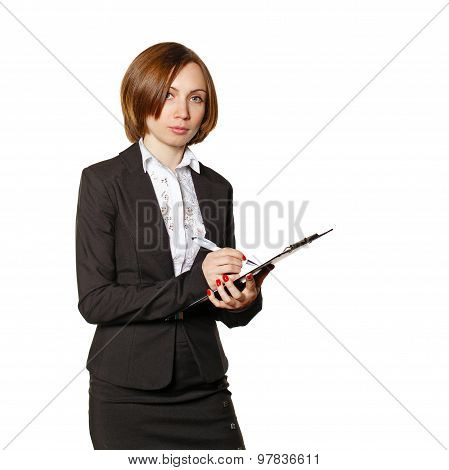 Business Woman Making Notes In Checklist.