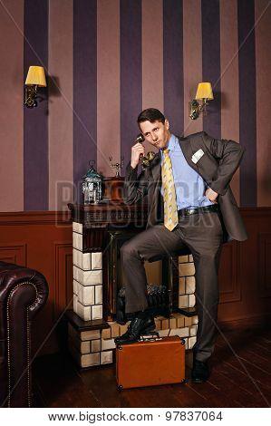 Businessman Speaks By Phone.