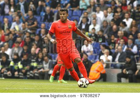 BARCELONA - APRIL, 25: Rafinha Alcantara of FC Barcelona during a Spanish League match against RCD Espanyol at the Power8 stadium on April 25 2015 in Barcelona Spain