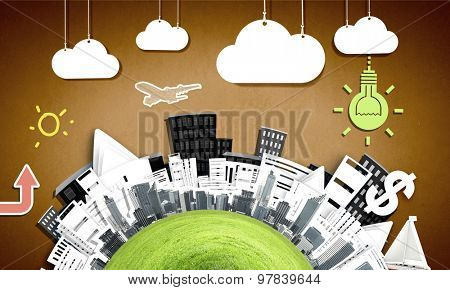 Composite collage with modern city landmarks and buildings