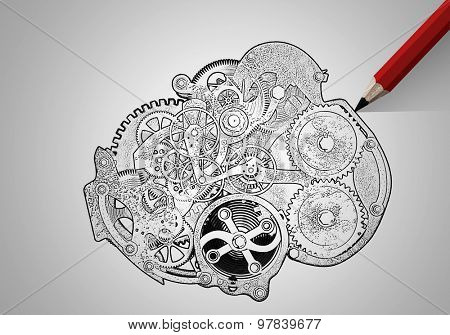 Pencil and drawn sketches of gears mechanism