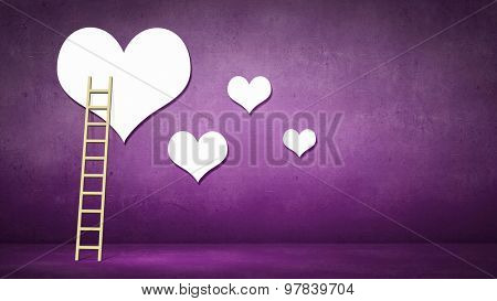 Conceptual image of ladder leading to a heart