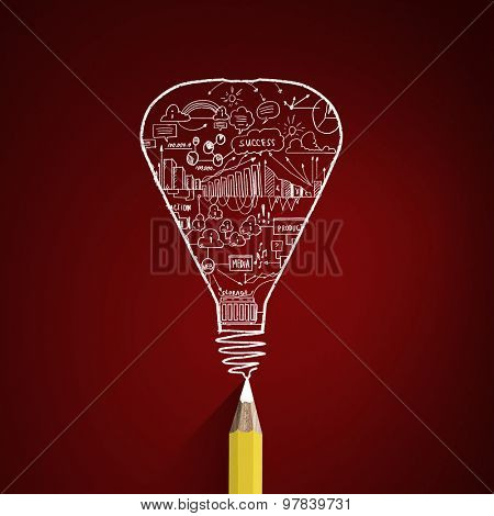 Idae concept image with pencil drawing light bulb
